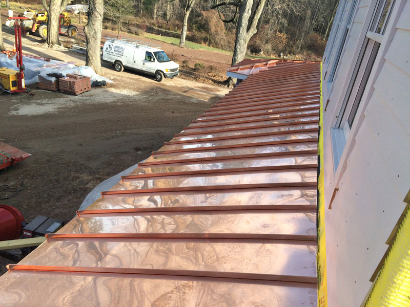 Standing Seam Copper Roof Installation